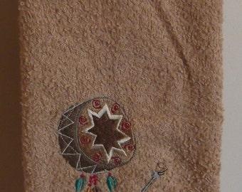 Embroidered ~NATIVE AMERICAN DRUM~ Kitchen Bath Hand Towel