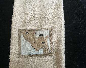 Embroidered ~WILD GIRAFFES~ Kitchen Bath Hand Towel