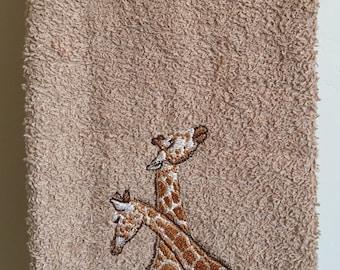 Embroidered ~GIRAFFE COUPLE~ kitchen Bath Hand Towel
