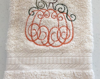 Embroidered ~ELEGANT PUMPKIN~ Fall Halloween Kitchen Bath Hand Towel