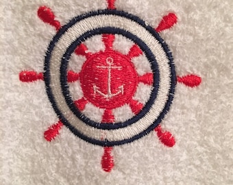 Embroidered ~SAILORS WHEEL Anchor~ Kitchen Bath Hand Towel