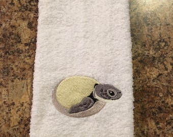 Embroidered ~HATCHING SEA TURTLE~ Kitchen Bath Hand Towel