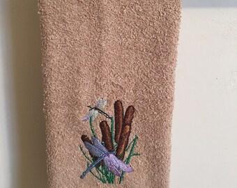 Embroidered ~DRAGONFLIES in CATTAILS~ Kitchen Bath Hand Towel