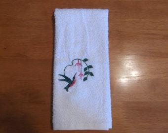 Embroidered ~HUMMING BIRD~ Kitchen Bath Hand Towel