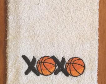 Embroidered ~ BASKETBALL XOXO~ Kitchen Bath Hand Towel
