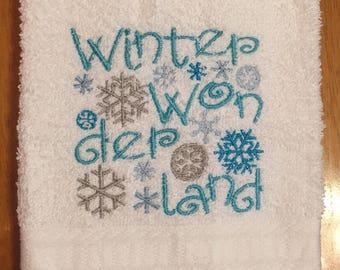Embroidered ~WINTER WONDERLAND~ Kitchen Bath Hand Towel