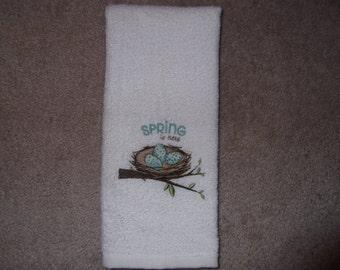 Embroidered ~SPRING is HERE~ Bird Nest Kitchen Bath Hand Towel