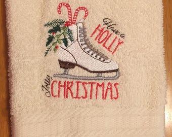 Embroidered ~CHRISTMAS ICE SKATE~ Kitchen Bath Hand Towel