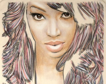 One-off, hand drawn portrait of Malika Haqq, in charcoal and pastel on calico