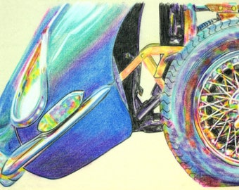 Original, one-off drawing of the front of a Jaguar E-type, in charcoal and pastel on calico