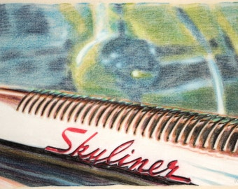 Original, one-off detail drawing of a Ford Crestline Skyliner, in charcoal and pastel on calico