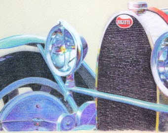 Original, one-off drawing of the front of a Bugatti Type 43, in charcoal and pastel on calico