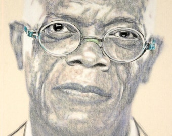 One-off, hand-drawn portrait of Samuel L Jackson, in charcoal and pastel on calico