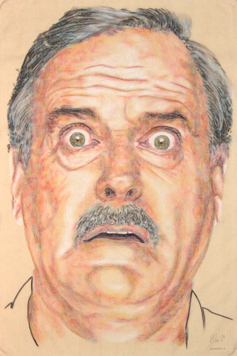 hand drawn portrait in charcoal and pastel on canvas John Cleese