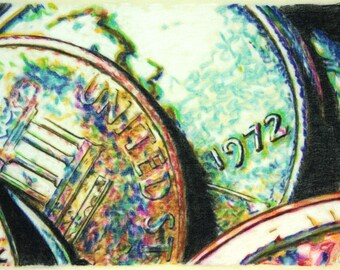 Original, one-off drawing of some American coins, in charcoal and pastel on calico