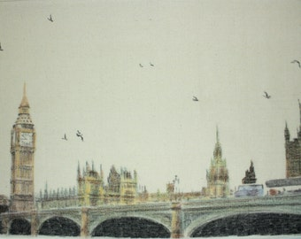Drawing of a bridge over the River Thames.