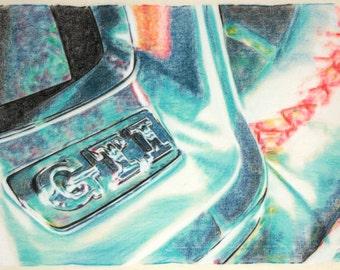 Original, one-off drawing of part of a Volkswagen Golf GTI steering wheel