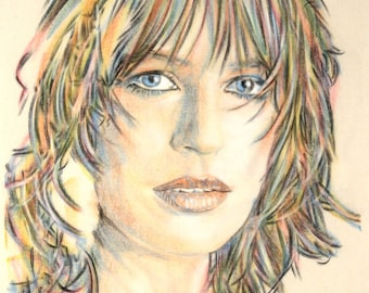 Original hand drawn portrait of Marianne Faithfull, in charcoal and pastel on calico