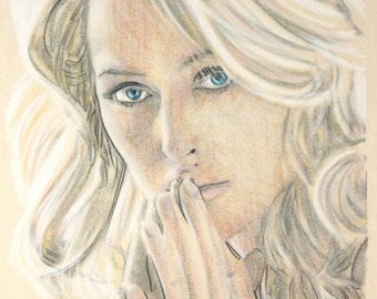 Original hand drawn portrait of Gillian Anderson, in charcoal and pastel on calico