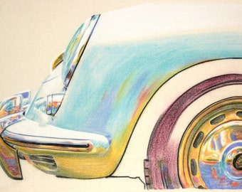 Original one-off drawing of a Porsche 356, in charcoal and pastel on calico