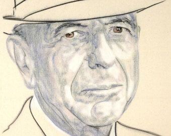 Original hand drawn portrait of Leonard Cohen, in charcoal and pastel on calico