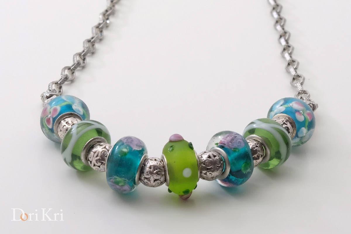 Beaded Necklace Venetian lampwork beads Murano Glass Necklace Handmade jewerly