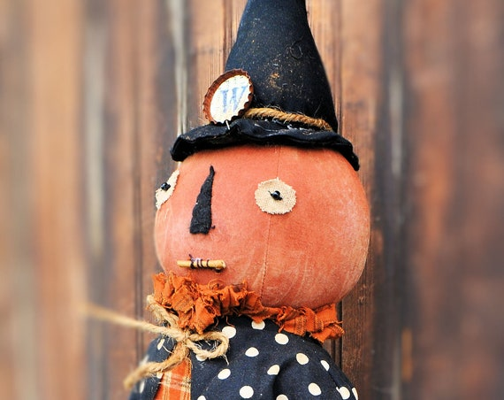 Primitive Pumpkin Witch with Purple Basket