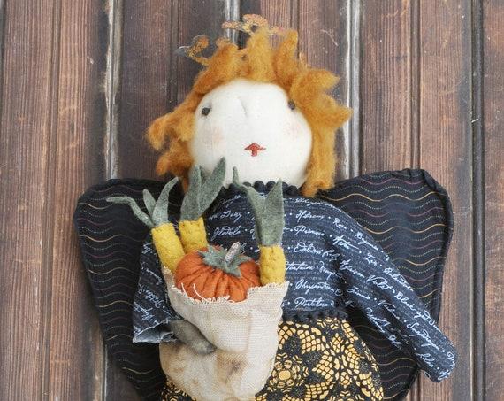 NEW! Primitive Harvest Angel with Basket