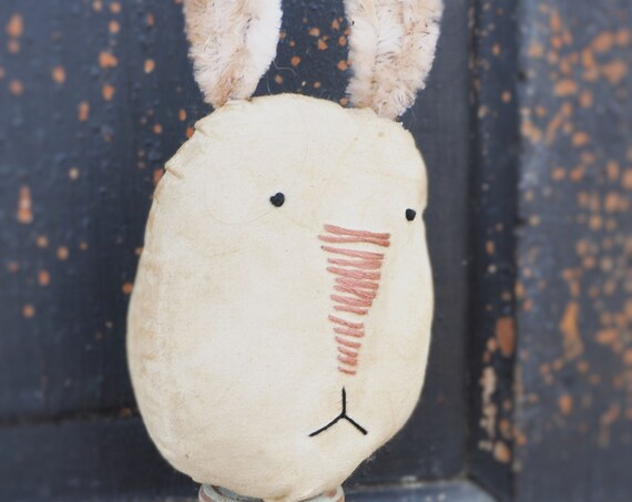 Primitive White Bunny on a Candlestick