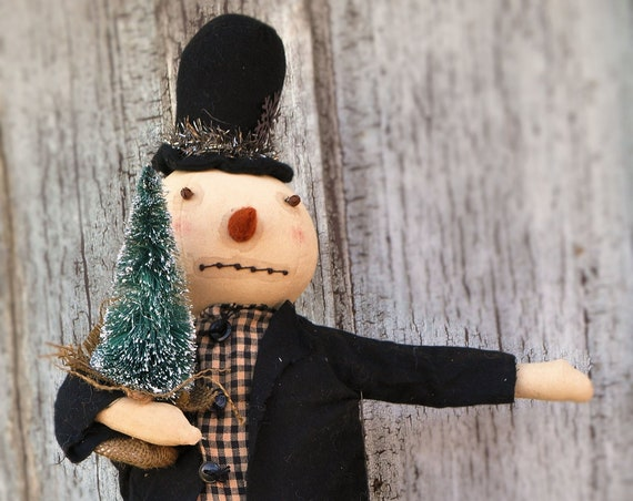 Primitive Standing Snowman Holding Sisal Tree