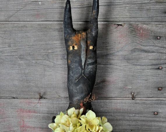 SALE! Primitive Black Bunny with Hydrangeas