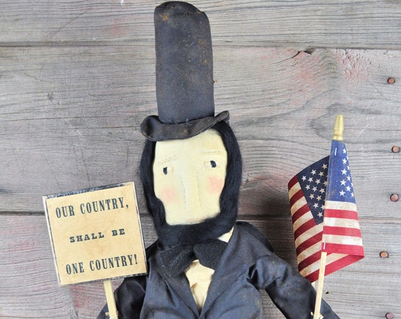 NEW! Primitive Abe with Sign and Flag