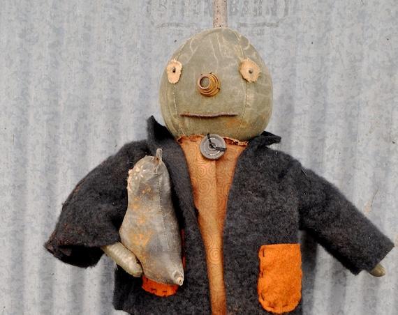 Primitive Dark Gray Pumpkin Doll  with Cat