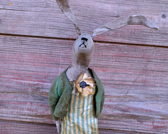 Primitive Gray Bunny with Watering Can