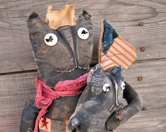 SALE! Primitive Cat With Two Kitties and Flags