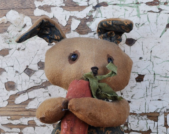 Sale! Primitive Tan and Blue Bunny with Carrot