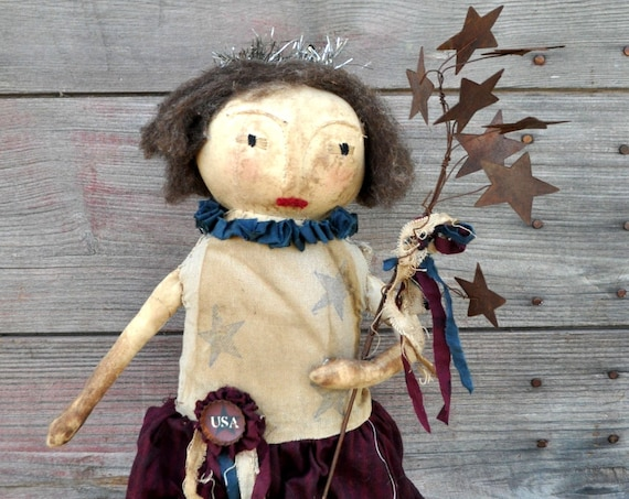 SALE! Primitive Betsy Ross with Rusty Star Branch