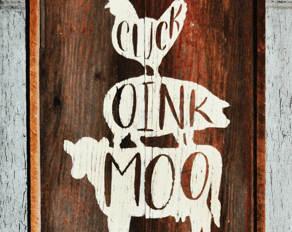 Farm Animals Barnwood Sign