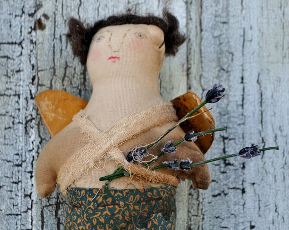 SALE! Primitive Small Angel with Flowers