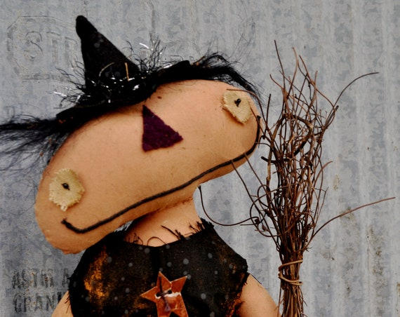 Primitive Orange Witch With Broom