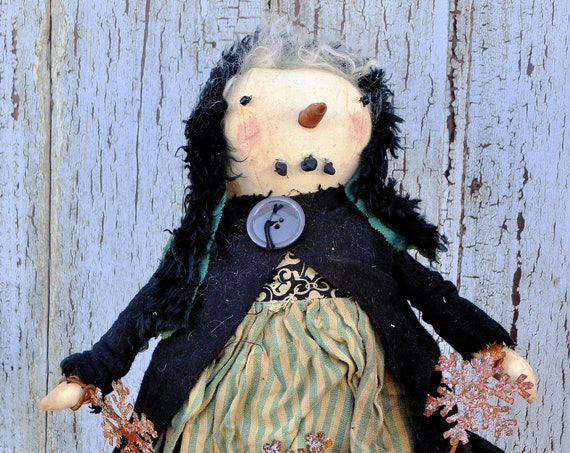 Primitive Snowgirl with Rusty Snowflake Garland