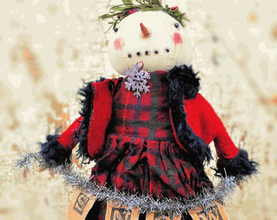 "Primitive Standing Snowgirl Doll Holding ""SNOW"" Garland"