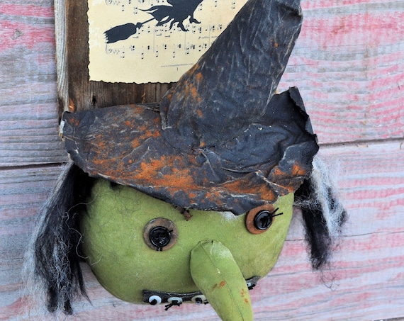 SALE! Primitive Witch on Barnboard