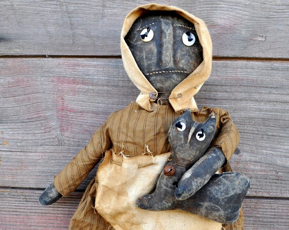 SALE! Primitive Black Prairie Doll with Cat