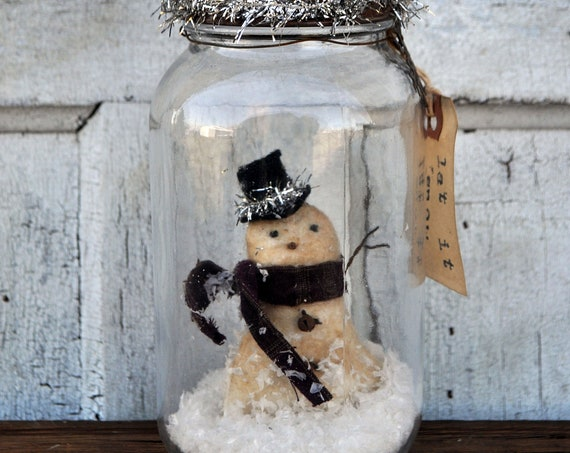 Primitive Snowman in a Jar