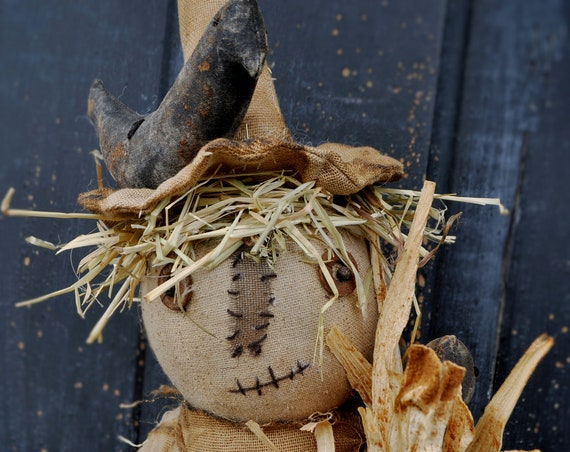 Primitive Scarecrow with Crows and Corn