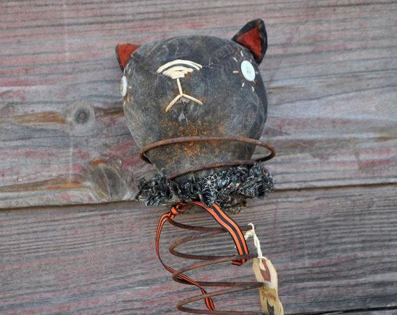 Primitive Halloween Cat Nodder