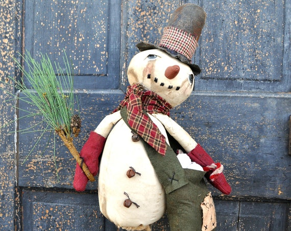 SALE! Primitive Snowman With Snowballs