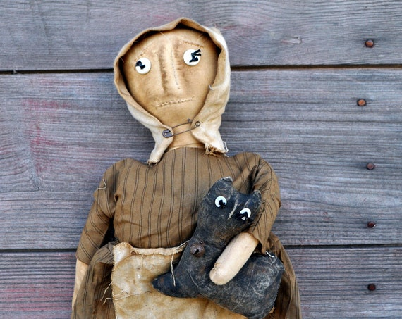 SALE! Primitive Tan Prairie Doll with Cat