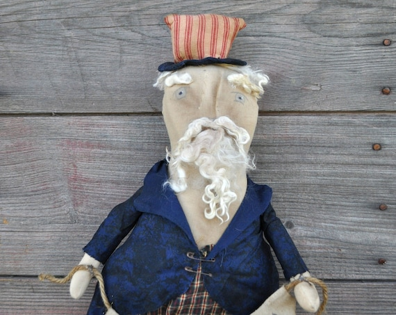 SALE! Primitive Uncle Sam with USA Banner
